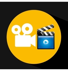 Video player concept clapper and movie camera vector