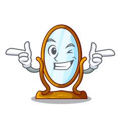 Wink big cartoon mirror in wooden frame vector