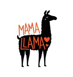 with llama animal and lettering phrase mama llama vector image