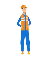 Young caucasian builder laughing vector