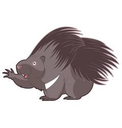 cartoon happy porcupine vector image vector image
