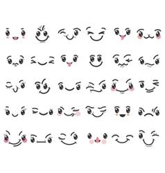 Cartoon kawaii emoticons vector image vector image