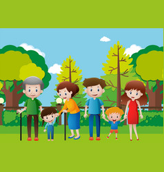 family hanging out in the park vector image