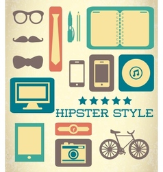 Flat hipster set of web elements vector image