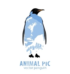 Penguin and mountains vector