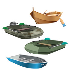 set of boats realistic vector image