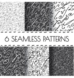 set of seamless hand drawn background vector image vector image