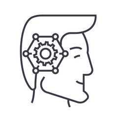 strategic thinking head linear icon sign symbol vector image vector image