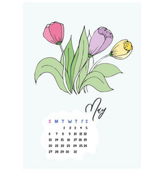 doodle tulips flowers may 2018 vector image vector image