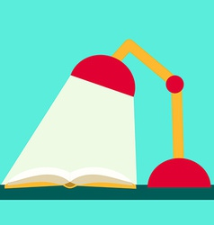 Flat Design Reading Book Book and Lamp vector image