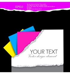 folder for documents design elements with torn pap vector image vector image