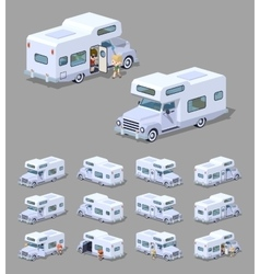 Low poly white motor home vector image vector image
