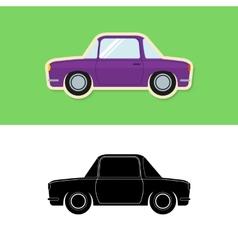 Retro car icon and silhouette vector image vector image