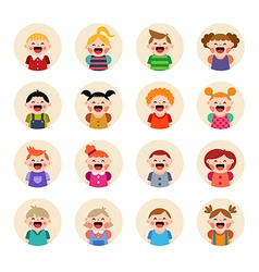 Set of round avatars isolated on white background vector image