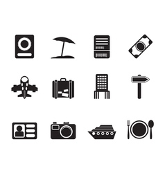 Silhouette travel and holiday icons vector image vector image