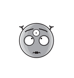 Smiling alien cartoon face with three eyes people vector