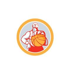 Basketball Player With Ball Circle Retro vector image vector image