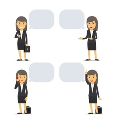Business woman with speech bubbles vector image vector image