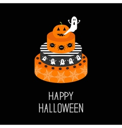 Cake with pumpkin ghost spider and web Happy vector image