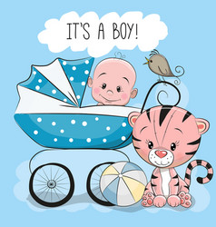 greeting card its a boy with baby carriage vector image vector image