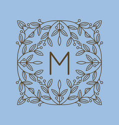 monogram m logo and text badge emblem line art vector image vector image