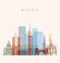 munich skyline detailed silhouette vector image