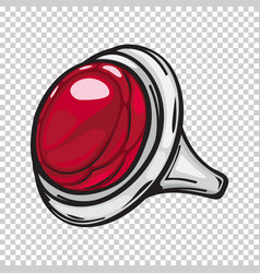 silver ring with big red stone flat design web vector image