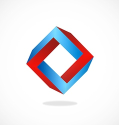 unusual abstract shape square 3D logo vector image vector image