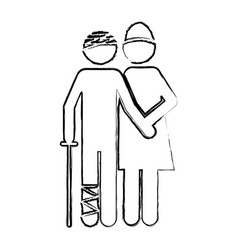 Blurred silhouette pictogram nurse with bandaged vector