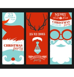 Christmas Retro Party Cards - Photo booth Style vector image vector image