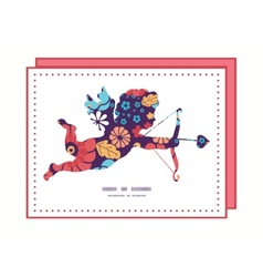 colorful bouquet flowers shooting cupid vector image