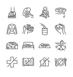 destitution line icon set vector image vector image