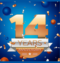 Fourteen years anniversary celebration design vector
