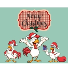 New Year 2017 The rooster dressed as Santa Claus vector image vector image