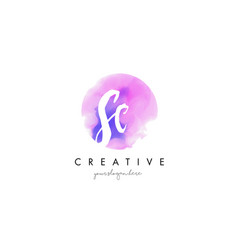 sc watercolor letter logo design with purple vector image