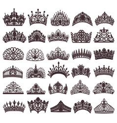 set of silhouettes of ancient crowns tiaras tiara vector image vector image