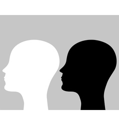 two silhouettes human head vector image vector image