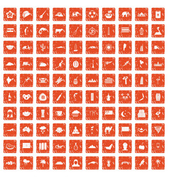 100 exotic animals icons set grunge orange vector image