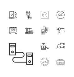 13 cable icons vector