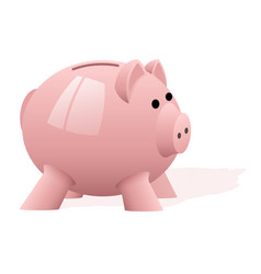 a pink pig piggy bank on white background vector image