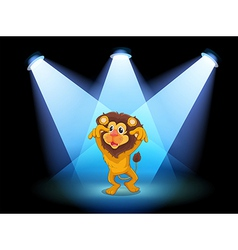 A scary lion at the center of the stage vector