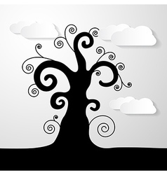Abstract Black Tree With Paper Clouds vector image