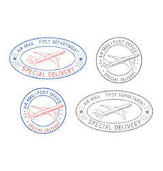 Air mail postmarks colored set with plane symbol vector