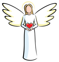 Angel holding heart vector