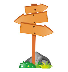 arrow sign on the wooden pole vector image