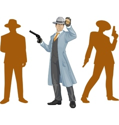 Asian police chief and people silhouettes vector image