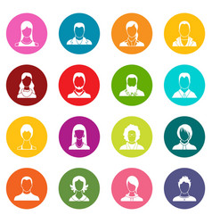 avatars set icons many colors set vector image