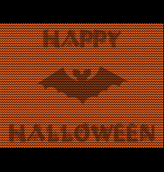 bat silhouette on orange knitted background and vector image