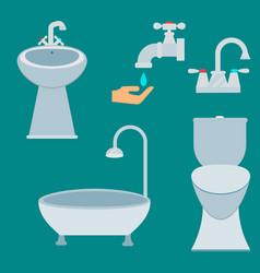 bath equipment icon toilet bowl bathroom clean vector image