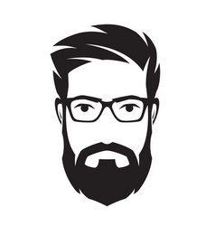Bearded mans face hipster character fashion vector